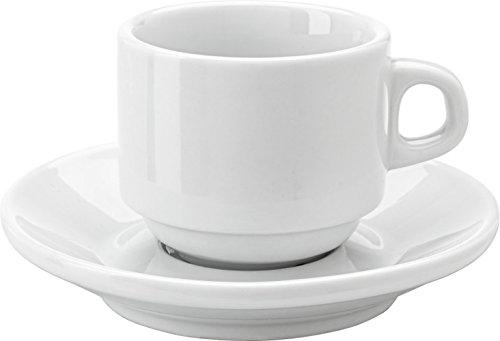 Esspresso Tassen 80 oder 100 ml Kaffeetassen 230 ml Neutral Weiß + Untertassen (Espresso-Tasse Can...