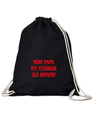 clothinx Mein Papa ist stärker als Deiner! Die besondere Geschenkidee Turnbeutel Schwarz
