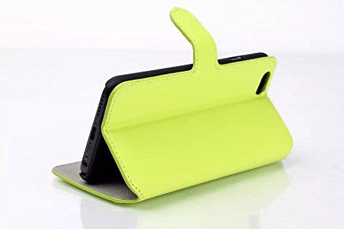 Custodia inShang cover per iphone 6 plus 5.5 iPhone 6+, Supporto rigido per iphone6 Case in pelle PU - Custodia a portafoglio con taschini per carte di credito, + inShang Logo pennino di alta classe Soft green