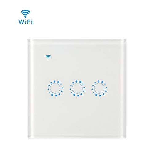 WiFi Smart Touch Switch, kompatibel mit Alexa und Google Home, IFTTT 3Gang 1 Way Glass Panel Touch Sensor Timer Wall Switch (Neutral Wire Need,2pcs),White (Light 3-way Switch Wire)
