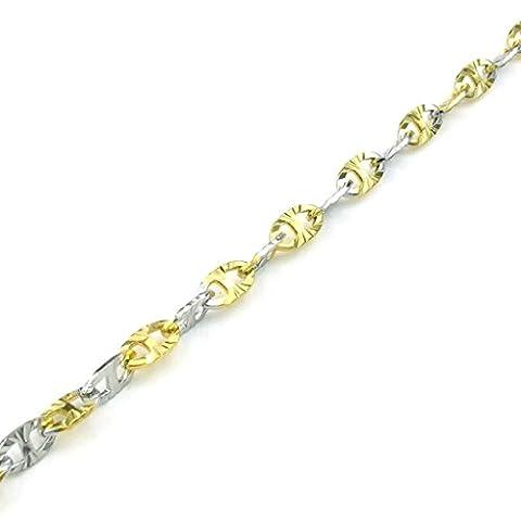 AMDXD Bijoux Rétro Collier,Acier Inoxydable Colliers Pendants pour Homme Classiqueal 2-Tones Silver 20 Pouce