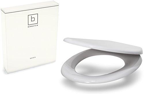 Benkstein Premium Toilettendeckel Oval Klodeckel in Weiß mit Quick-Release-Funktion und Softclose Absenkautomatik. Antibakterielle Klobrille aus Duroplast und rostfreiem Edelstahl. WC-Brille WC-Deckel