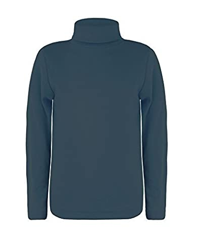 LOTMART Enfants Manches Longues col roulé Uni Haut Basique Garçon Fille Polo Jersey haut - Bleu Vintage, 13-14