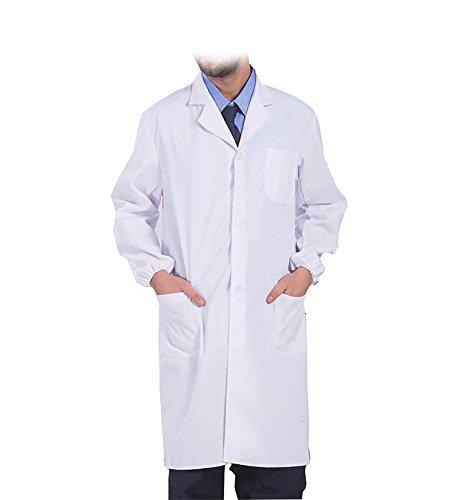 WDF laborkittel kittel medizinische kittel weiß arztkittel weiße herren langärmelige lange unterabschnitt elastizität handschellen (Lange Kittel Unisex-farbigen)