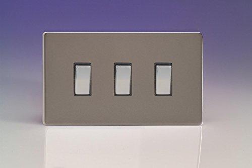 Varilight XDR93S - Interruptor de luz basculante de 3 interruptores, 10 A,...