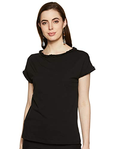 Honey by Pantaloons Women's Plain Regular fit Top (110051461_Black_L)
