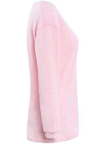 ACHICGIRL Women's V Neck Loose Fit Sweater pink