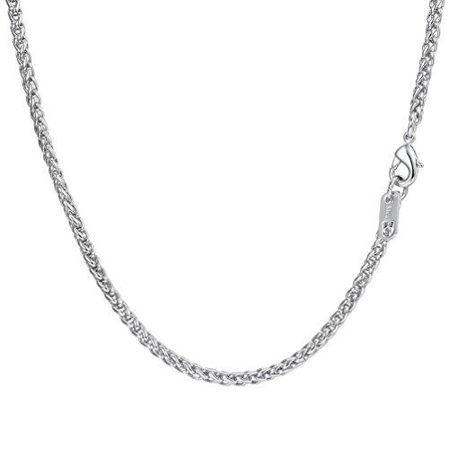 PROSTEEL Herren 3mm Weizenkette Halskette Edelstahl Simpel Gliederkette 61cm Kettelänge, Silber