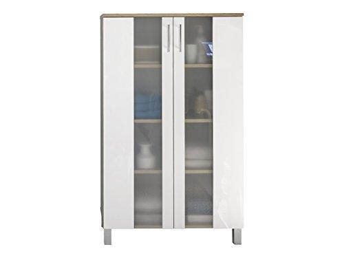 *trendteam smart living Badezimmer Schrank Kommode Porto, 65 x 109 x 31 cm in Korpus Eiche Sägerau Hell Dekor, Front Weiß mit viel Stauraum*