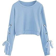 Fossen Mujer Sudaderas Cortas 2018 Otoño e Invierno Blusas con Manga Larga con Cordones Camiseta para