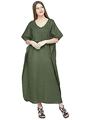 SKAVIJ Womens Soft Beach Cover Up Embroidered Pure Cotton Long Kaftan Maxi Dress Black