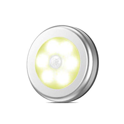 JCZR Induktionslampen-Schranklicht des Intelligenten LED-Lichtsteuerungs-menschlichen Körpers Runde Induktionslampe,Silver1-PC-81x81x18(mm)