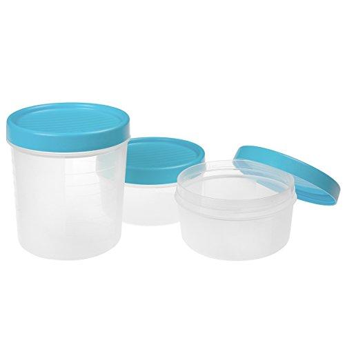 Tatay 1169400 Set di 3 scatole di immagazzinaggio di chiusura a vite di plastica blu 24,5 x 12 x 13 cm