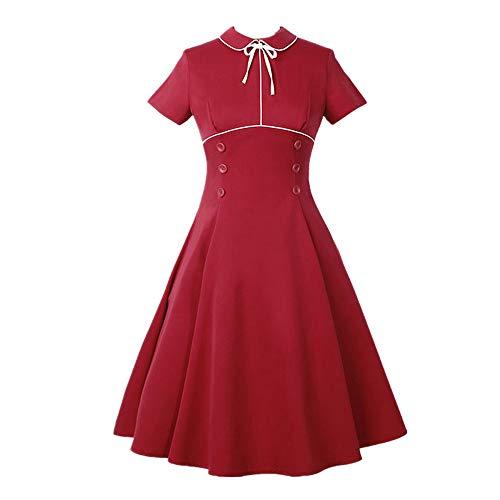 Produp Frauen Mode Sexy Kleider Plus Größe Vintage Taste Hohe Taille Kurzarm Swing DressPencil Kleid Bodycon ()