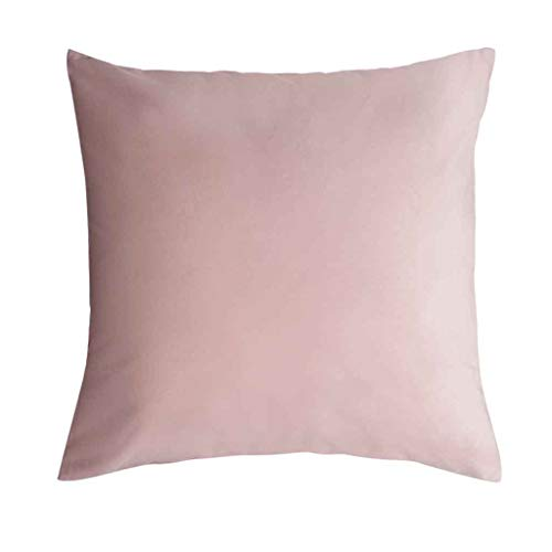 Funda cojín Velvet 100% poliéster, Color Rosa. Terciopelo Liso, Un básico Ideal 45x45 cm.