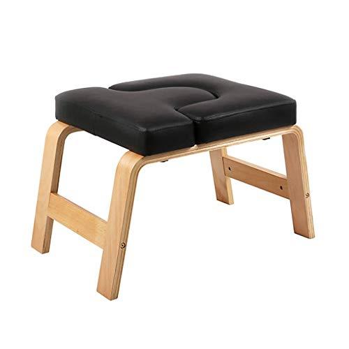 Zl yoga headstander stand bench - inversion yoga headstand chair for gym allenamento fitness - legno di betulla e fax cuscino in pelle, portata 200kg / 440lb (color : black)