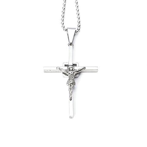 Epinki Homme Acier Inoxydable Collier Jésus Christ Crucifix Croix Religieux Argent Pendentif