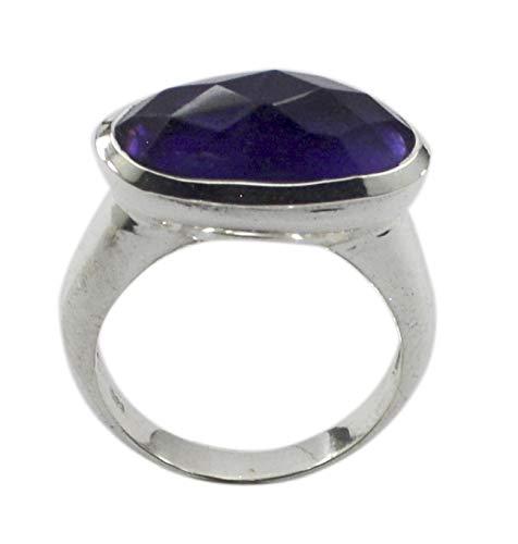 Riyo anello in argento sterling 925 puro indiano massiccio, anello in argento con pietra viola ametista