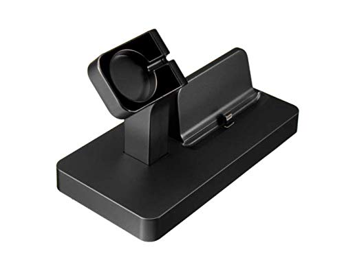 Charles 2 in 1 Charging Dock Stand Station Charger Holder für Apple Watch iWatch iPhone - Schwarz