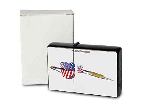 *Feuerzeug Benzin Sturmfeuerzeug Bedruckt Feuerzeuge Darts Pfeile USA*