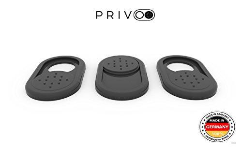 Privoo Webcam Abdeckung Made in Germany | Webcam Cover 3er-Set schwarz • für Laptop  MacBook, iMac & Handy • ultra dünn • Sticker mit starkem Halt • wirksamer Schutz der Kamera vor Hackern