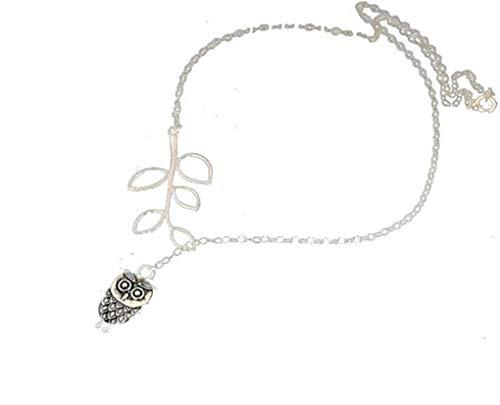Dorical Damen 925 Silver Halskette/Frauen Eule Quaste mit Blättern Mother\'s Day gift/Mädchen Halskette Anhänger Jewelry Schön accessory Sale(Silber)