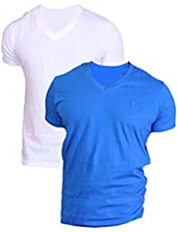 LUCfashion Men's Combo (Pack Of 2 ) Exclusive Premium Fashionable Half Sleeve V-neck Cotton T-shirt