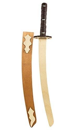 Kinder-Holz-Ninja-Schwert Katana Samurai-Schwert 65cm mit Klingen-Scheide und Gürtelschlaufe Piraten-Säbel Kostüm Verkleidung mit Parierkreis (Spielzeug Schwert Ninja)