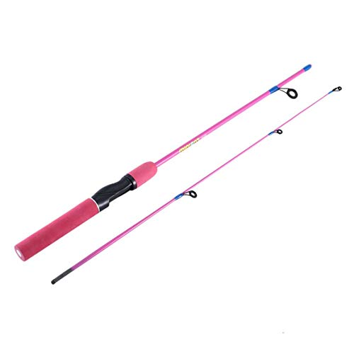 JohnJohnsen Outdoor Angeln Farbe Angelrute 1.2 M gerader Griff Eisangelrute Winter Angelrute Angelausrüstung Kinder Pole (Pink) -