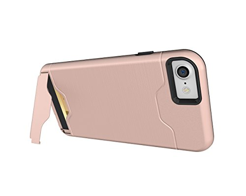 Cover iPhone 7, CaseLover Rigida Custodia con Porta Carte Integrato per Apple iPhone 7 (4.7 Pollici) Ultra Sottile PC Difficile Case Protettiva Dura Antiurto Hard Bumper con Auto Atand Anti-graffio An Oro rosa