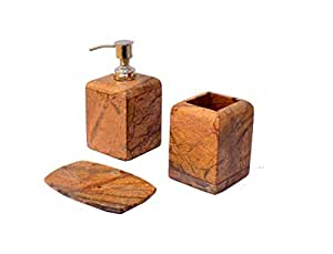 Stone Made Bathroom Accessories Set by Wigano.Stone Soap Dispenser with Chrome Polish Pump with 3 Complete Set Ideal for Room Bathroom, Luxury Hotel Bathroom