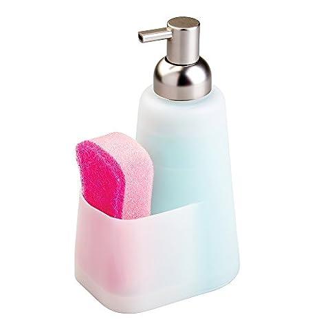 mDesign distributeur de savon liquide avec panier à éponge pratique – flacon de 473 ml rechargeable – flacon de haute qualité en silicone avec pompe en plastique durable –