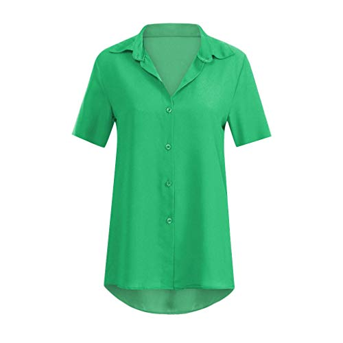 Damen Kurzarm Sommer Casual T-Shirt Oberteile Loose Shirt Chiffon Top Bluse Schlafanzug Blusen