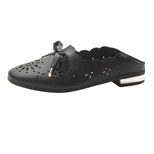 Dorical Sandaletten Damen Sandale Sandalen Pantoffeln Sommerschuhe Rutschfest Halbschuhe/Frauen Hohl Schuhe Leichte Sandalen Bequem Atmungsaktiv Freizeitschuhe(Schwarz,37 EU)