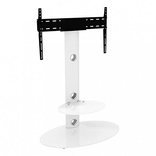 King aufrecht und Freitragende TV-Stand mit Halterung Satin weiß oval Böden 80cm von 81,3cm-152,4cm Zoll für HD Plasma LCD LED OLED gebogen TVS von TV Möbel Direct Hd Plasma