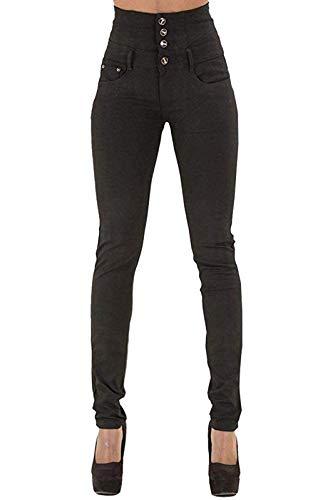 Yidarton Jeans für Damen Vintage Lässige Dünn Denim Strecken Schlank Hochbund Knopfleiste Jeanshose Röhrenjeans Push Up Hose (Schwarz, XL)