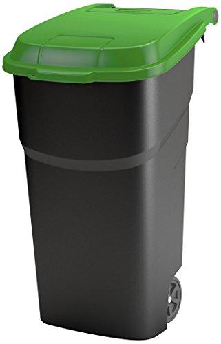 Rotho Basura con Tapa y Ruedas de plástico PP, residuos/Roll Cubo, 100 L