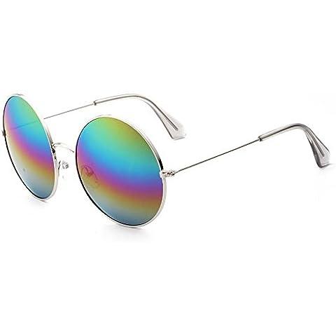Generic -  Occhiali da sole  - Uomo Silver Frame Colorful Film