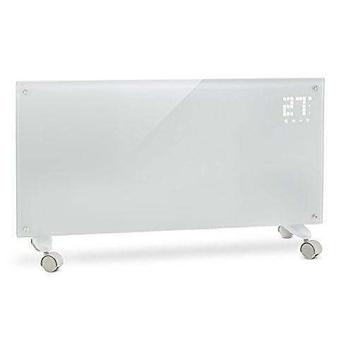 Klarstein Bornholm - Radiateur électrique convecteur chauffage d'appoint forme panneau design (2000 W, Menu LED, 2 niveaux thermostat réglable, roulettes) - blanc - Moderna Basso Elettrico