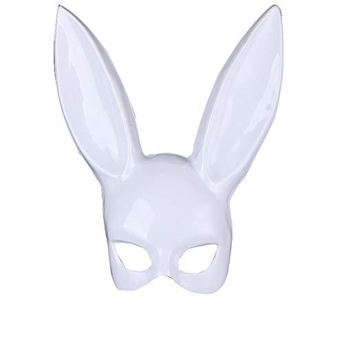 CAOLATOR Halloween Masquerade Maske Damen Kaninchen Muster Weiß Augenmaske Venetian Gesichtsmaske Maskenball Masken für Kostüm Karneval Party (Weißes Kaninchen Kostüm Muster)