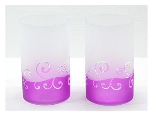2x Offizielle Scroll großes Glas Kerzenhalter Dekoration Ornament Lila Milchglas Yankee Candle Classic Sleeve Zubehör -