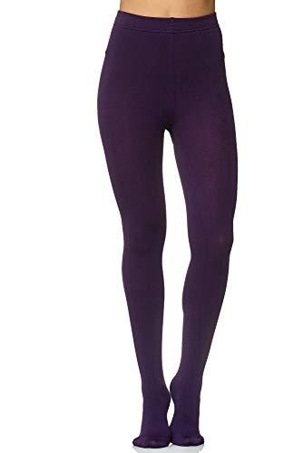 JillyMode hochwertige Damen BASIC Lange Leggings in körpernaher Passform Gr. 34-40 (Modelle B -Lila -L-XXL)