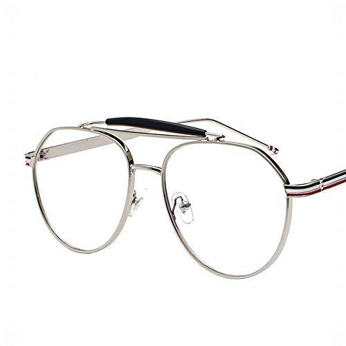 Easy Go Shopping Large Oval Metal Retro Emaille Brillengestell Flacher Spiegel für Männer und Frauen. Sonnenbrillen und Flacher Spiegel (Farbe : Silver)