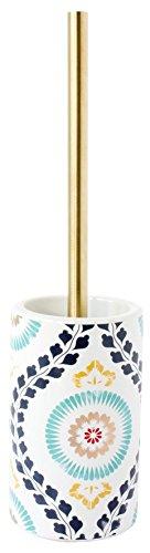 Gelco 709513 Goa Pot à Balai Bohême Céramique Blanc 10,5 x 10,5 x 40 cm