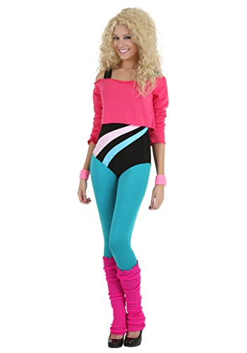 Women's 80's Workout Costume for Women in 4 Sizes. Includes Crop Top Sweatshirt, Bodysuit and Leggings.