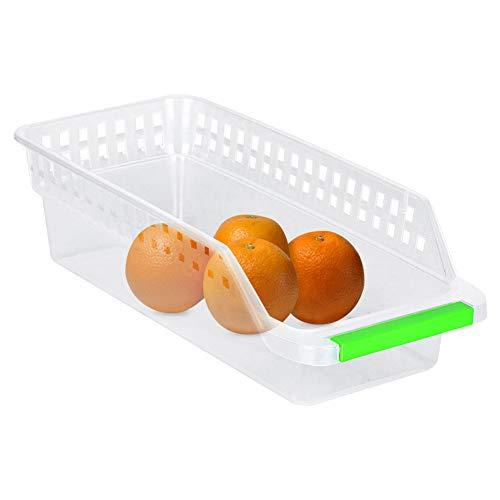 Stapelbarer Kunststoff Küche Kühlschrank Aufbewahrungsbehälter Gefrierschrank Aufbewahrung Organizer Obstgriff Küche für Küchenschränke Arbeitsflächen 4 Stück - transparent -