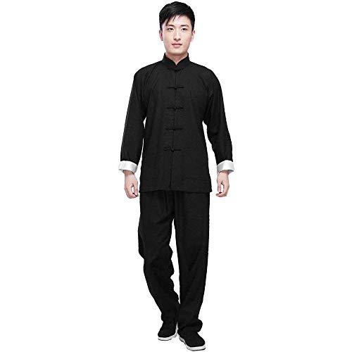 G-like Kung Fu Herren Anzug - Traditionelle Chinesische Kampfkunst Tai Chi Qigong Wing Chun Shaolin Wushu Lange Ärmel Training Freizeit Kleidung Uniform Jacke Hose (Schwarz, M) - Kung Fu Uniform