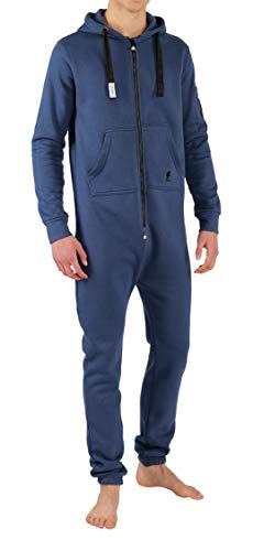 Schwarze Fleece Pyjama-hosen (O'Poppy Herren Jumpsuit einteilig (M, blau/schwarz))