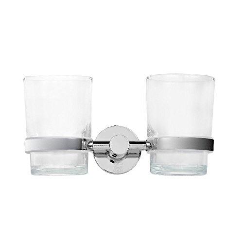 CRW Badezimmer Double Glas Zahnputzbecher Halter Wand montiert Zahnbürstenhalter Zahnpasta Halter Zahn Edelstahl Pinsel Cup 90008