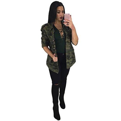 OverDose Damen Camouflage Jacken mantel Herbst Winter Street Casual Jacken outwear